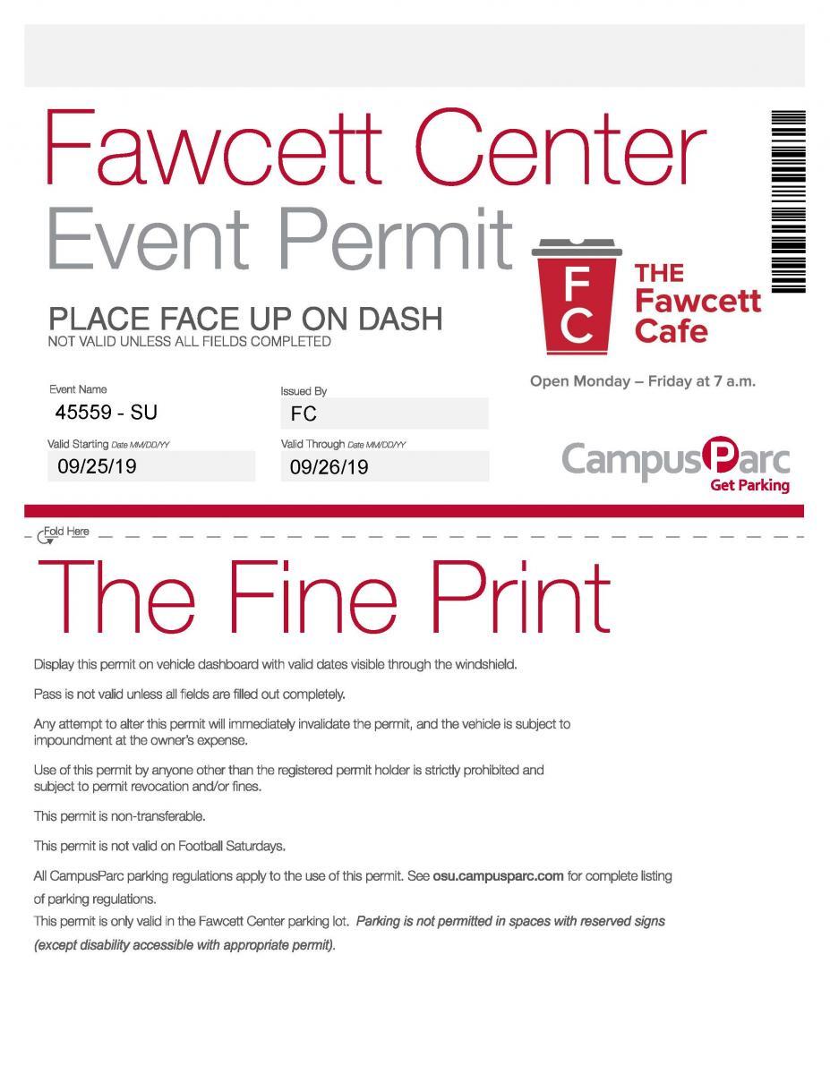 Fawcett Center Parking Pass