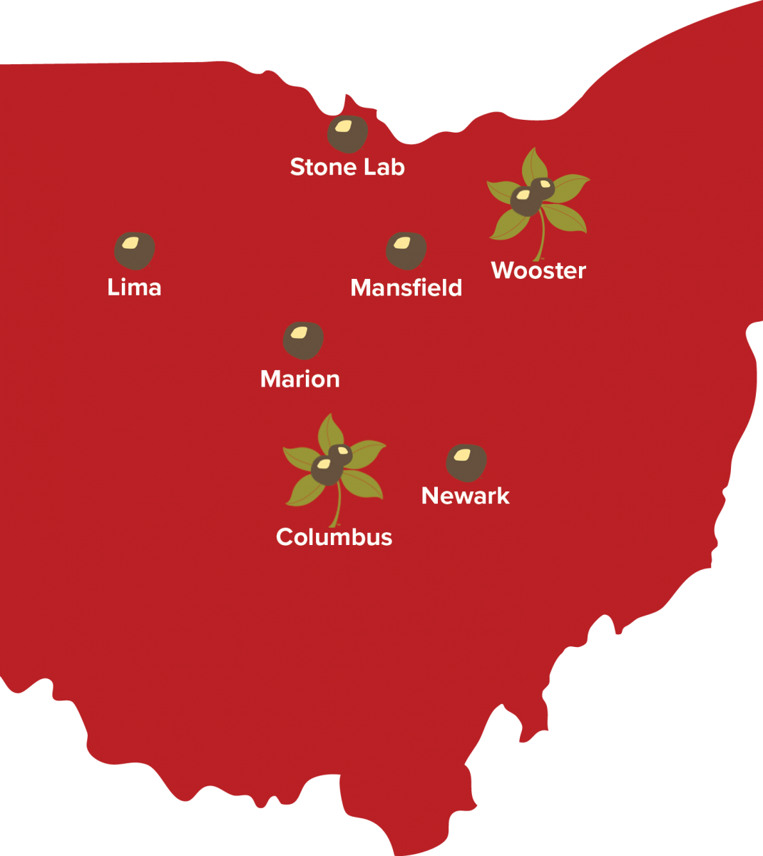 Ohio state map showing campuses: Lima, Stone Lab, Mansfield, Marion, Newark, Wooster, and Columbus.